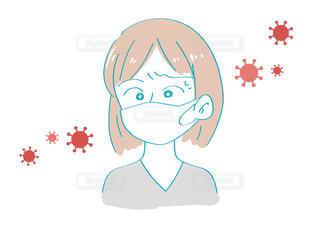 新型コロナウイルス対策を心がける 心配する女性の写真・画像素材[3505239]