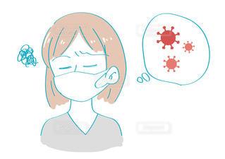 ウイルスについて考える女性 モヤモヤの写真・画像素材[3505242]