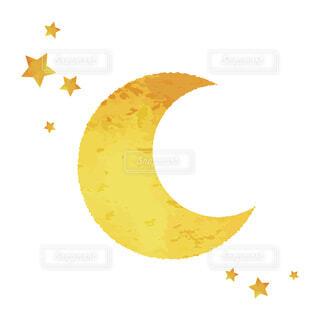 月と星の水彩イラストの写真・画像素材[3836423]