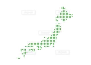 日本地図 簡略ドットイラスト 緑の丸の写真・画像素材[4275007]