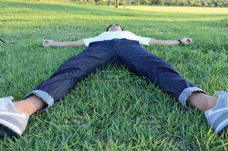 草の上に横たわる男子の写真・画像素材[2439623]