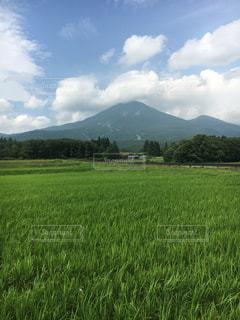 会津磐梯山と田園の写真・画像素材[2404359]