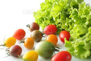 カラフルなミニトマトと緑のレタスの写真・画像素材[2409460]