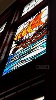 萬翠荘のステンドグラスの写真・画像素材[2417950]