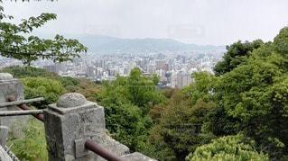 緑の樹木に囲まれた松山城とその眺望の写真・画像素材[2417973]