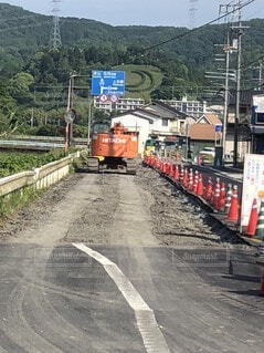 道路工事 三日月の写真・画像素材[3631214]