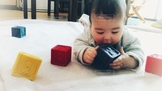じゅうたんの上で遊ぶ0歳男児の写真・画像素材[2893003]