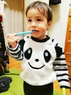 歯磨きする2歳児の写真・画像素材[3068700]