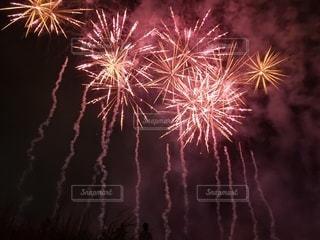 夜空に咲く赤い花火の写真・画像素材[2441857]