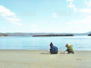 砂浜にお絵かきの写真・画像素材[2428864]