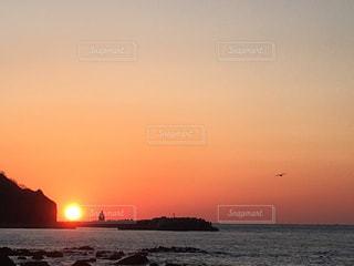 神威岬の夕日の写真・画像素材[3065011]