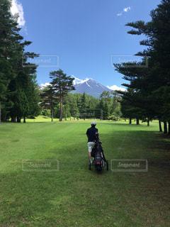 ゴルフ場でカートを引く男性の写真・画像素材[2473136]