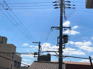 電柱のクローズアップの写真・画像素材[2452727]