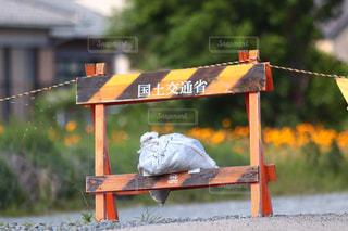 木製のベンチの看板の写真・画像素材[2459570]
