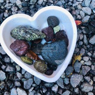 岩の上に座っている食べ物のボウルの写真・画像素材[2457784]