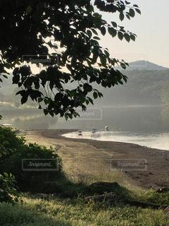 湖の朝の写真・画像素材[2464291]