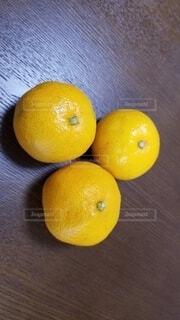 木のテーブルの上に座っている2つのオレンジの写真・画像素材[3940264]