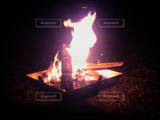 冬の焚火の写真・画像素材[2768236]
