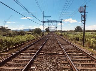 のどかな風景と線路の写真・画像素材[2494824]