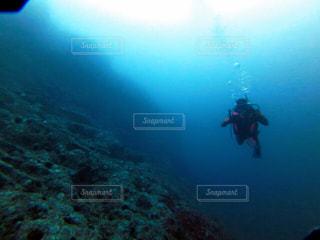 水の中で泳いでいる男の写真・画像素材[2686328]