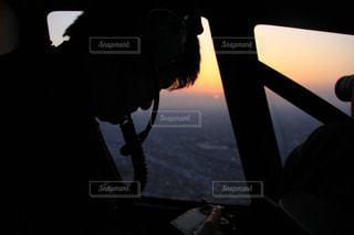 ヘリ、空撮、シルエットの写真・画像素材[2502669]