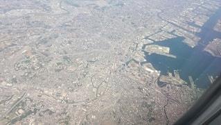 離陸直後の横浜周辺上空の写真・画像素材[2599639]