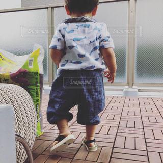 バルコニーに立つ小さな男の子の写真・画像素材[2517764]
