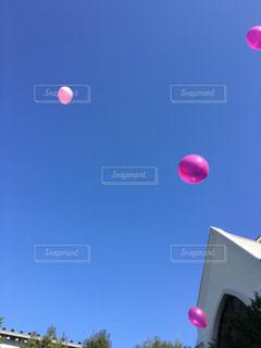 青空に舞う風船の写真・画像素材[2538093]