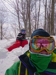 雪山と私の写真・画像素材[2567497]