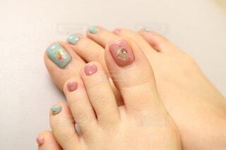 アシンメトリーなfoot nail☆の写真・画像素材[4229500]