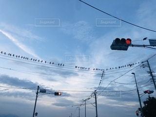 通りの脇にぶら下がっている信号機の写真・画像素材[2543795]