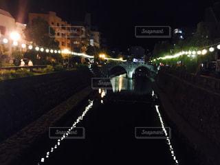 長崎めがね橋の夜景の写真・画像素材[2559536]