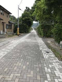 誰もいないひっそりとした一本道の写真・画像素材[3289428]