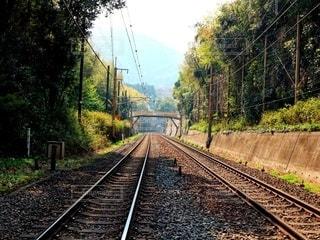 遠くどこまでも続く線路の写真・画像素材[2596490]