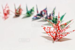 グラデーションに並べた折り鶴の写真・画像素材[2919619]