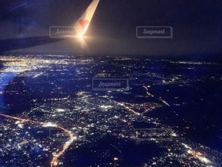 飛行機からの夜景の写真・画像素材[2720790]