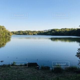 木々に囲まれた大きな水域の写真・画像素材[2713566]
