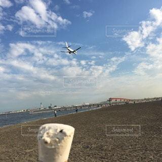 飛行機とアイスと浜辺の写真・画像素材[100044]