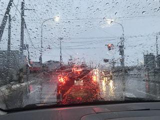 雨の日の信号の写真・画像素材[2874375]