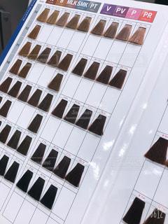 髪を染める時に使うヘアカラーチャート。色見本。の写真・画像素材[2588061]