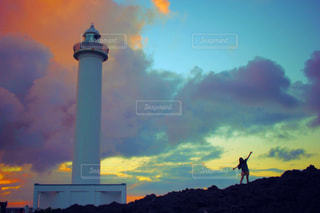 残波岬の夕焼けの写真・画像素材[2598046]