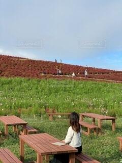 ピクニックテーブルの前のベンチに座っている人の写真・画像素材[3778427]