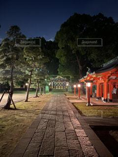 夜の穴八幡の参道と社殿の写真・画像素材[2664067]