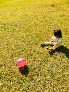 草の中に座っている女の子の写真・画像素材[2729179]