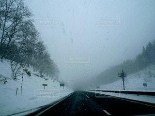 吹雪の道路の写真・画像素材[2993717]