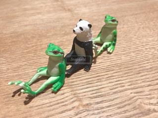 整列するパンダとカエルの写真・画像素材[2797685]