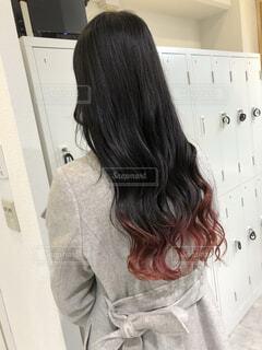 裾カラー ピンクの写真・画像素材[4043825]