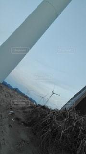 砂浜の風力発電の写真・画像素材[2716021]