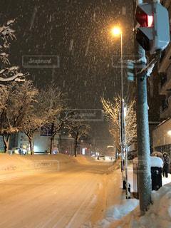 雪に覆われた通り側にトラフィック ライトの写真・画像素材[1031204]