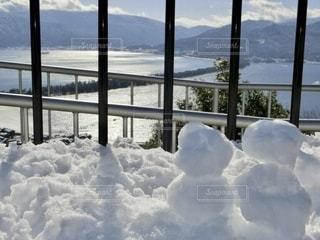 天橋立と雪だるまの写真・画像素材[2755376]